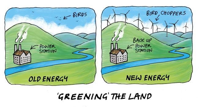 Cartoon making fun of wind power