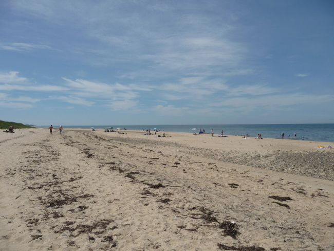 Pic is a crowded Cape Cod beach - the bay, at Wellfleet. Duck Harbor.